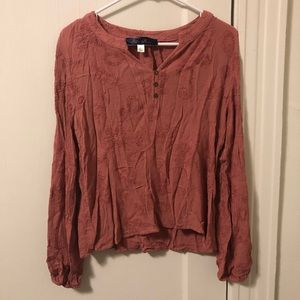Flowy Burnt Orange Top with Floral Stitching